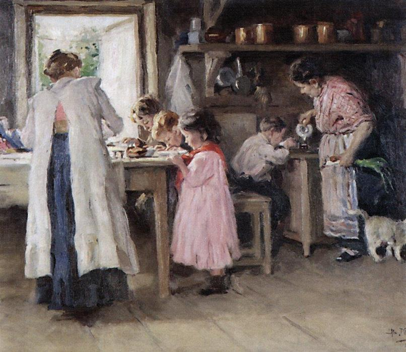 At the kitchen, 1913 by Vladimir Yegorovich Makovsky (1846-1920, Russia) | Paintings Reproductions Vladimir Yegorovich Makovsky | WahooArt.com