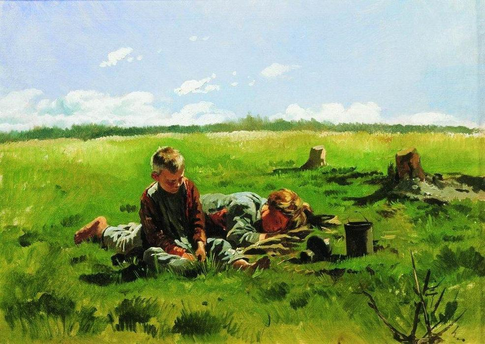 Boys in the field by Vladimir Yegorovich Makovsky (1846-1920, Russia) | Art Reproduction | WahooArt.com