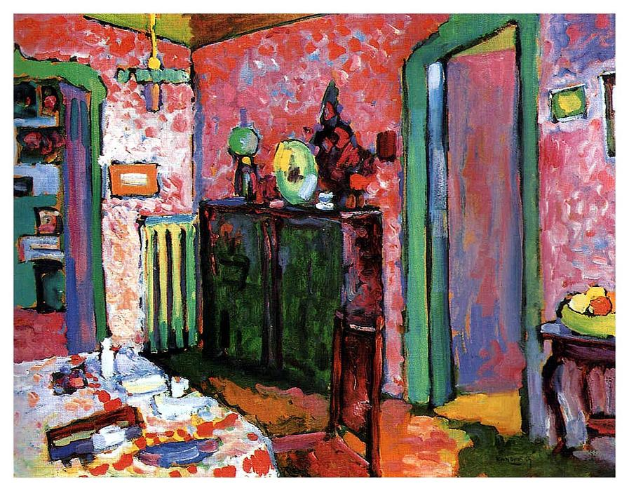 Interior (My dining room), 1909 by Wassily Kandinsky (1866-1944, Russia) | Museum Art Reproductions Wassily Kandinsky | WahooArt.com