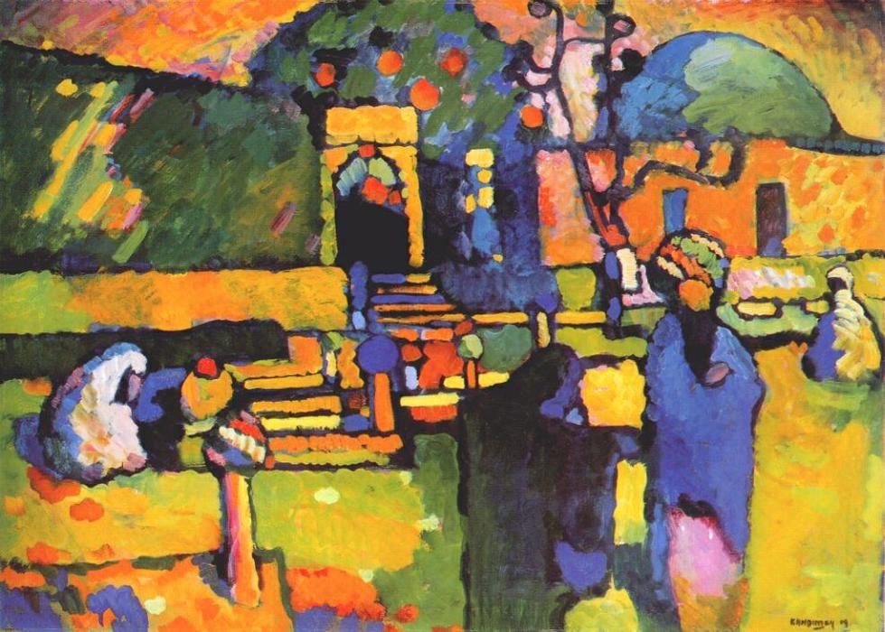 Arabs I (Cemetery), Oil by Wassily Kandinsky (1866-1944, Russia)