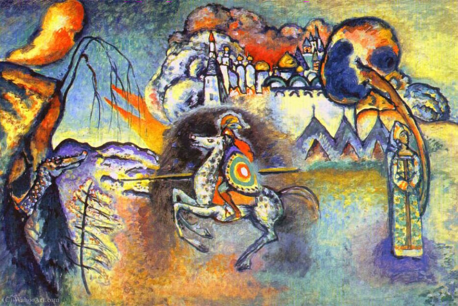 St. George and the dragon, 1915 by Wassily Kandinsky (1866-1944, Russia) | Art Reproduction | WahooArt.com