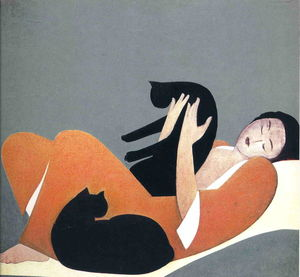 Will Barnet - Woman and Cats
