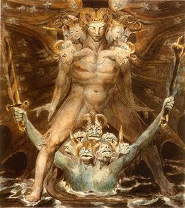 Order Art Reproductions | The Great Red Dragon and the Beast from the Sea, 1805 by William Blake (1757-1827, United Kingdom) | WahooArt.com