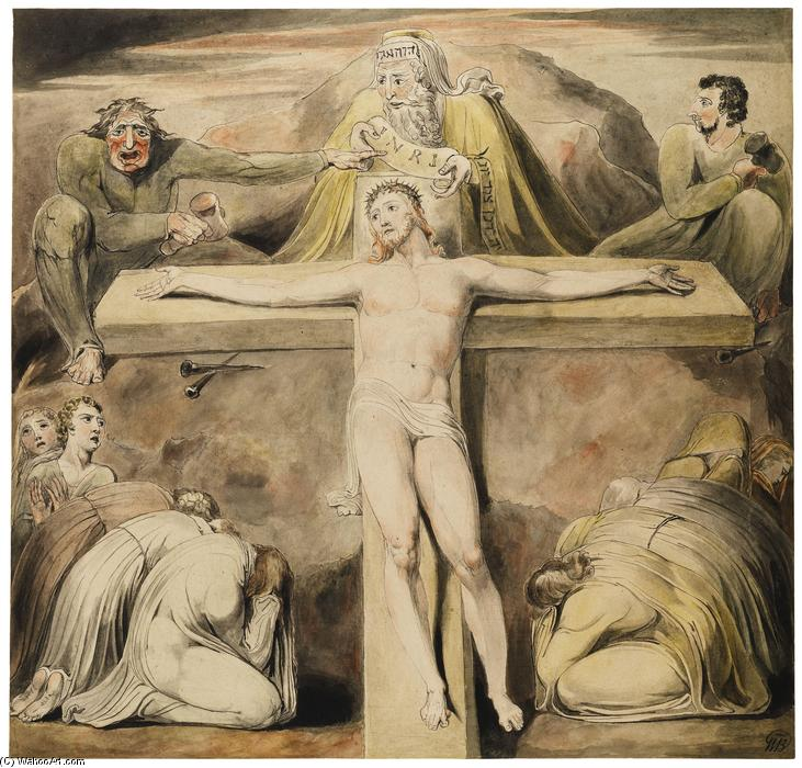 Christ Nailed to the Cross The Third Hour, 1803 by William Blake (1757-1827, United Kingdom) | Paintings Reproductions William Blake | WahooArt.com