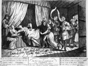 William Hogarth - Mary Toft, apparently giving birth to rabbits