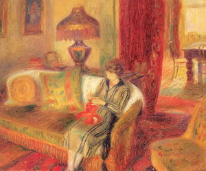 William James Glackens - The Artist's Wife Knitting