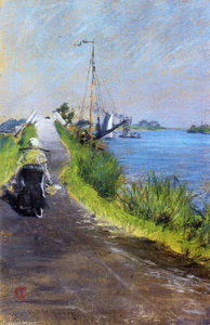 William Merritt Chase - Dutch Canal (aka Canal Path Holland)