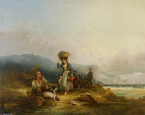 William Shayer Senior - Fisherfolk and Their Catch by the Sea