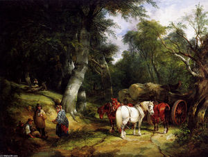 William Shayer Senior - Carting Timber In The New Forest