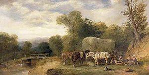 William Shayer Senior - Carthorses and Rustics by a Stream