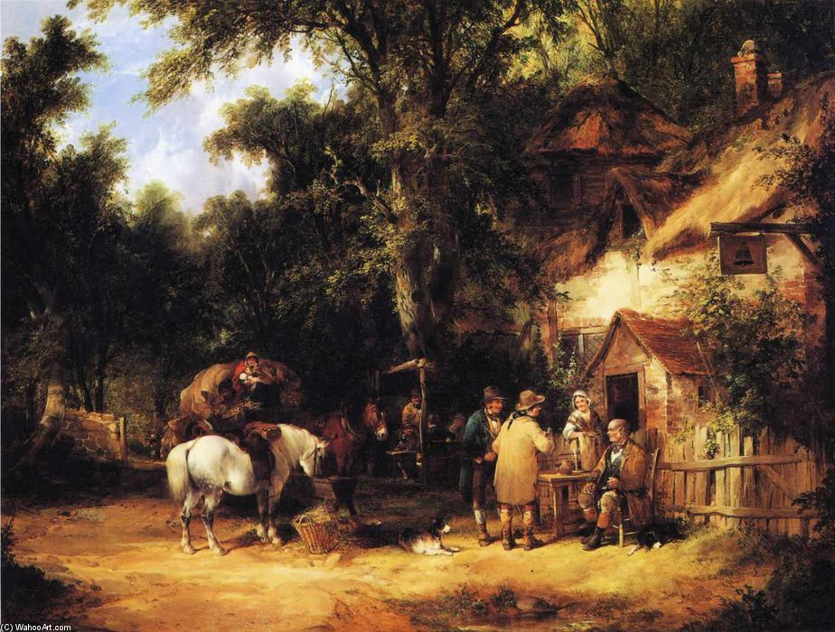 At the Bell Inn, Cadnam, New Forest by William Shayer Senior (1788-1879, United Kingdom) | Famous Paintings Reproductions | WahooArt.com