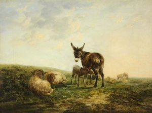 William Shayer Senior - Donkey and Sheep
