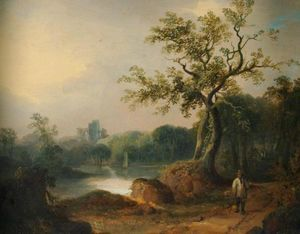 William Shayer Senior - Landscape with Figures on a Path