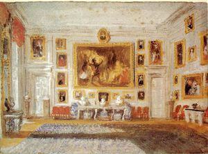 William Turner - Petworth, the Drawing room, Bodycolor on blue paper