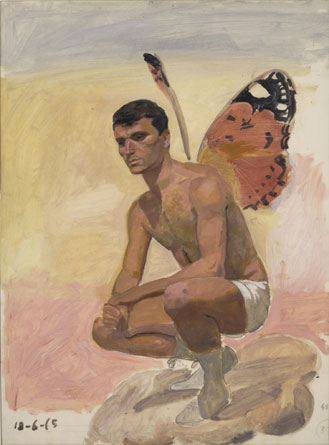 Man with butterfly wings , sitting, study from life, 1965 by Yiannis Tsaroychis (1910-1989, Greece) |  | WahooArt.com