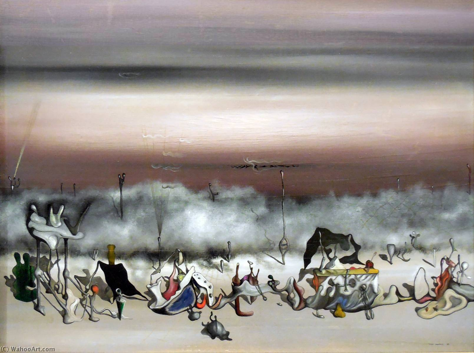 The Ribbon of Excess, Oil On Canvas by Yves Tanguy (1900-1955, France)