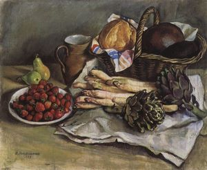Zinaida Serebriakova - Still life with asparagus and strawberries