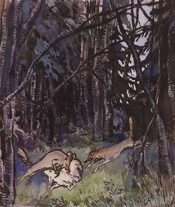 Zinaida Serebriakova - Attacked a goat gray wolves