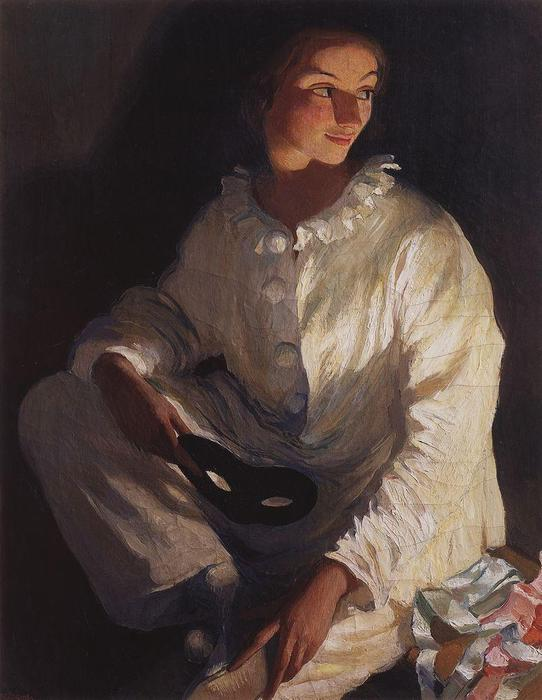 Pierrot (Self portrait in the costume of Pierrot) , 1911 by Zinaida Serebriakova (1884-1967, Ukraine) | Famous Paintings Reproductions | WahooArt.com