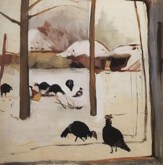 Zinaida Serebriakova - Poultry yard   Краска, Картины, Работы