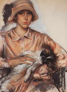 Zinaida Serebriakova - Portrait of a Lady I. Whelan with a Lapdog