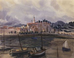 Zinaida Serebriakova - Menton. View from the harbor of the city