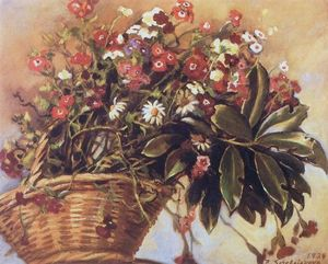 Zinaida Serebriakova - A basket with flowers