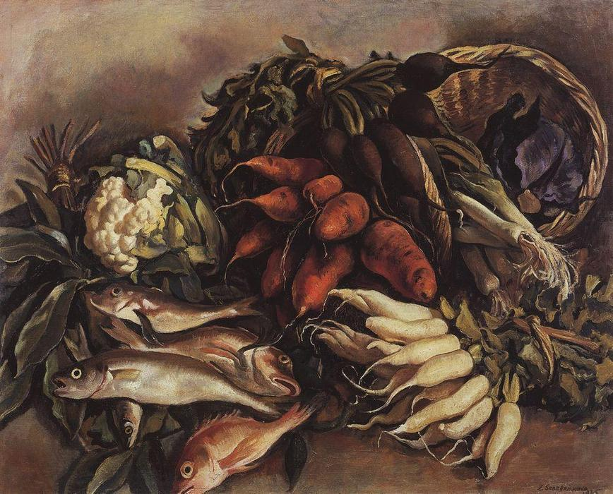 The fish on the green , 1935 by Zinaida Serebriakova (1884-1967, Ukraine) | WahooArt.com