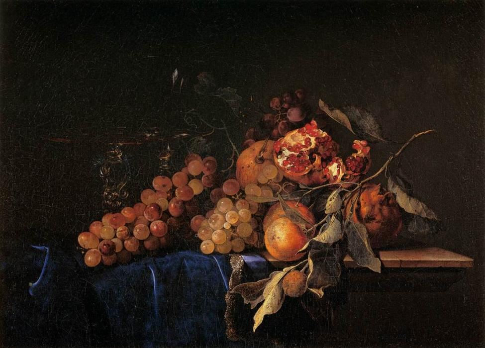 Still-Life with Fruit and a Crystal Vase, Oil On Canvas by Willem Van Aelst (1626-1683, Netherlands)