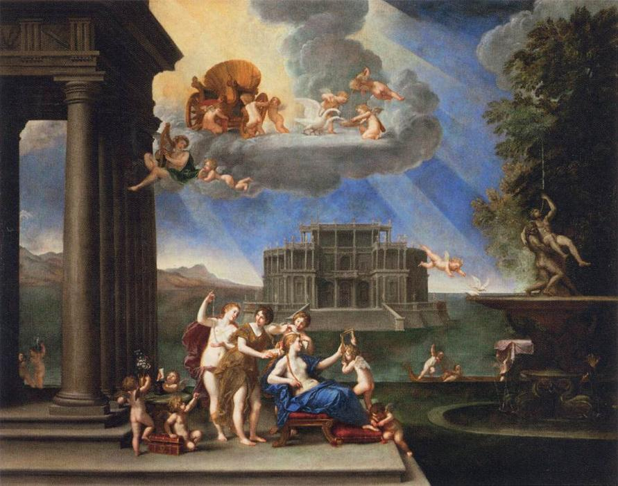 Toilet of Venus, 1621 by Francesco Albani (1578-1660, Italy) | Art Reproductions Francesco Albani | WahooArt.com