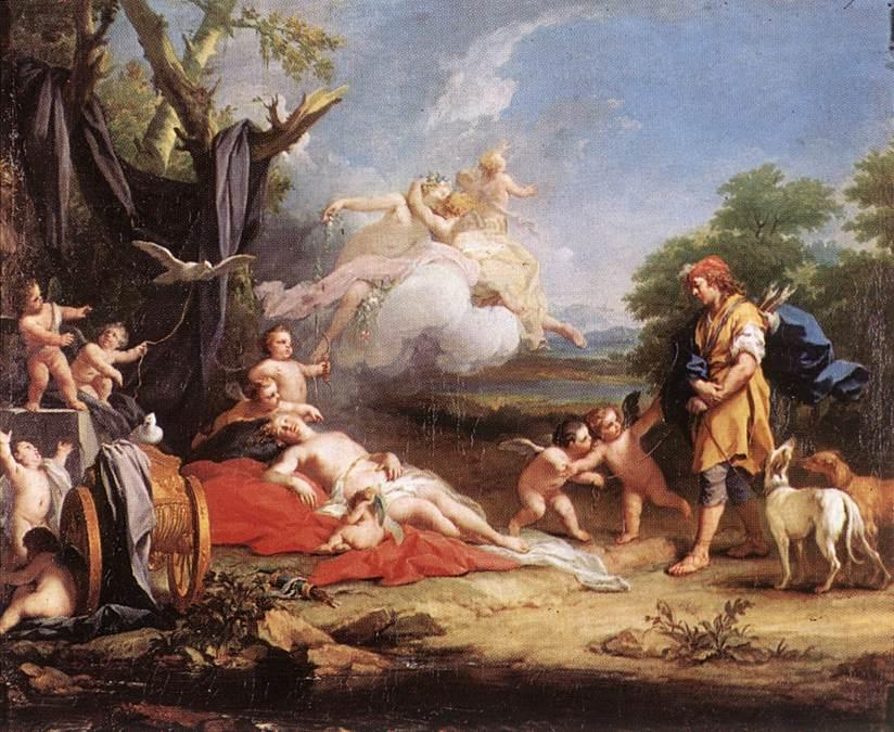 Venus and Adonis by Jacopo Amigoni (1682-1752, Italy) | Museum Quality Reproductions | WahooArt.com