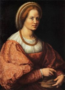 Andrea Del Sarto - Portrait of a Woman with a Basket of Spindles