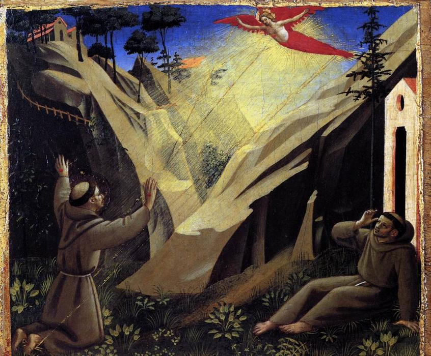 St Francis Receiving the Stigmata, 1440 by Fra Angelico (1395-1455, Italy) | Famous Paintings Reproductions | WahooArt.com