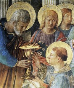 Fra Angelico - St Peter Consacrates Stephen as Deacon (detail)