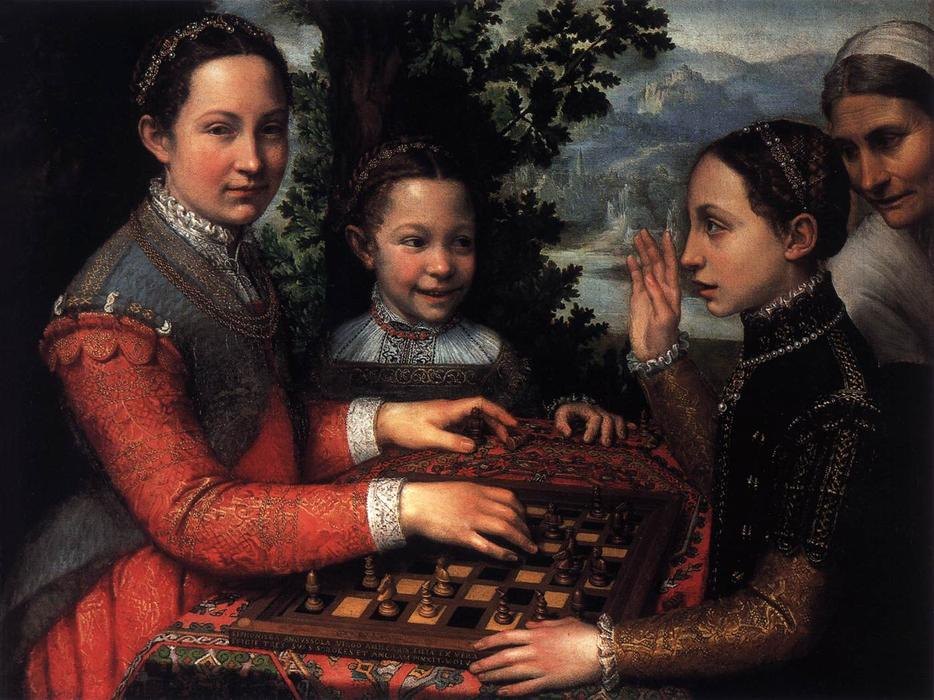 Portrait of the Artist`s Sisters Playing Chess, 1555 by Sofonisba Anguissola (1532-1625, Italy) | Museum Quality Copies Sofonisba Anguissola | WahooArt.com