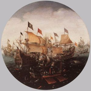 Aert Anthonisz (Aert Anthonissen) - Sea Battle between Dutch and Spanish Boats