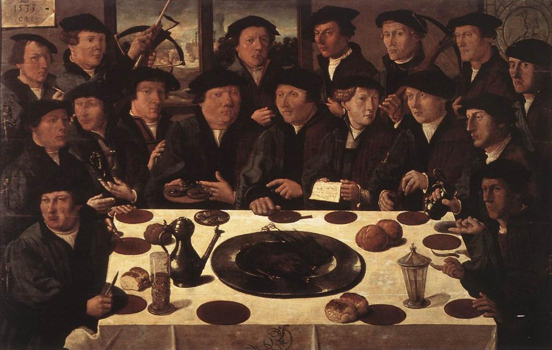Buy Museum Art Reproductions | Banquet of Members of Amsterdam`s Crossbow Civic Guard, 1533 by Cornelis Anthonisz (1505-1553, Netherlands) | WahooArt.com