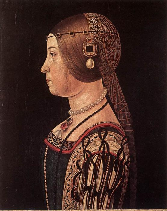 Portrait of Barbara Pallavicino, 1510 by Alessandro Araldi (1460-1529, Italy) | Famous Paintings Reproductions | WahooArt.com
