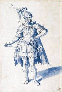 Giuseppe Arcimboldo - Costume drawing for man-at-arms