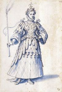 Giuseppe Arcimboldo - Costume drawing of a female figure with torch