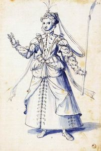 Giuseppe Arcimboldo - Costume drawing of a woman with torch