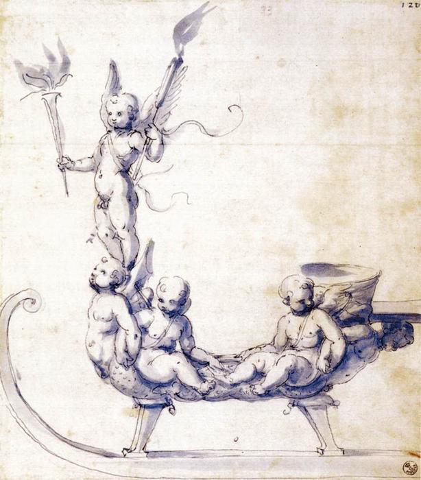 Giuseppe Arcimboldo - Page 3 Giuseppe-Arcimboldo-Sketch-for-a-Sleigh-with-Putti