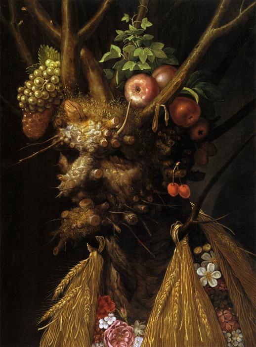 Order Art Reproduction : The Four Seasons in one Head, 1590 by Giuseppe Arcimboldo (1527-1593, Italy) | WahooArt.com