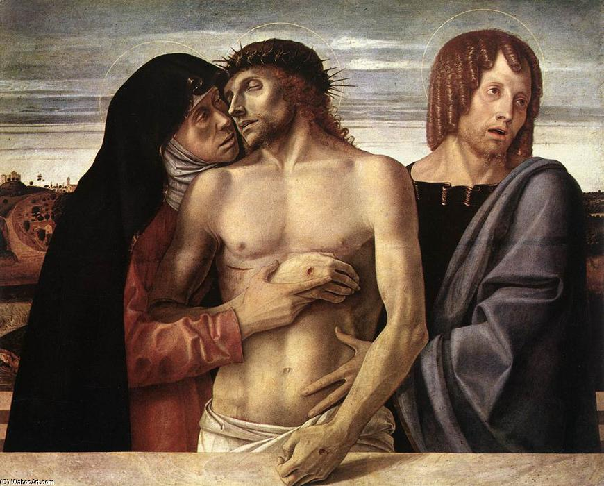 Dead Christ Supported by the Madonna and St John (Pietà), 1460 by Giovanni Bellini (1433-1516, Italy) | Museum Art Reproductions Giovanni Bellini | WahooArt.com