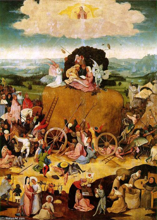 Triptych of Haywain (central panel), Oil On Panel by Hieronymus Bosch (1450-1516, Netherlands)