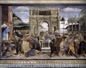 Sandro Botticelli - The Punishment of Korah and the Stoning of Moses and Aaron
