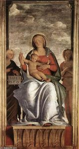 Bartolomeo Suardi (Bramantino) - Madonna and Child with Two Angels