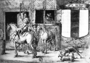 Leonaert Bramer - Soldiers with Horses before a House