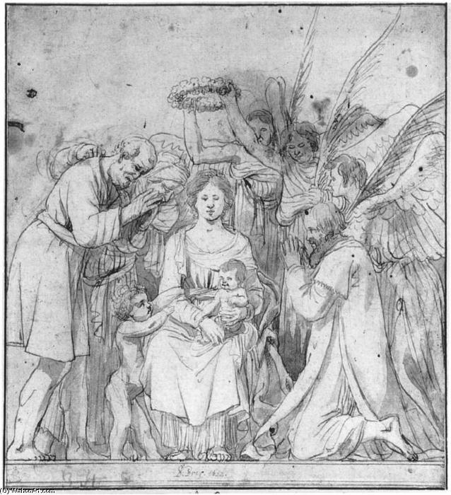 Madonna with Angels and Shepherds, Wash by Salomon De Bray (1597-1664, Netherlands)