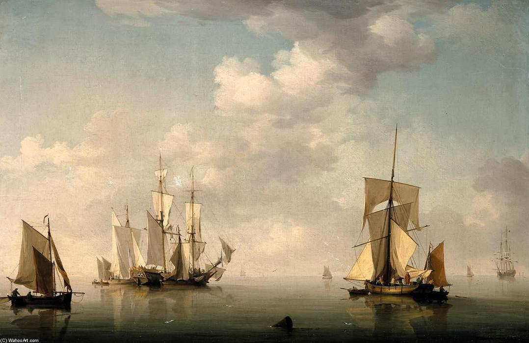 Shipping in a Calm by Charles Brooking (1723-1759) | Museum Art Reproductions Charles Brooking | WahooArt.com